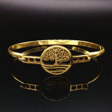 Tree of Life Plated Gold Stainless Steel Bangles For Women 2017 New Bangle Bracelet Jewelry pulseras de acero inoxidable B61175
