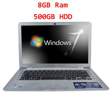 Cheap 14 Laptop Computer Notebook Celeron J1900 Quad Core 8G RAM 500G HDD Windows 7/8 WIFI Webcam Portable Laptops PC 3 Color