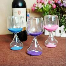 Romantic Home Ornaments Wine Glasses Hourglass Crystal 6 Minute Count Down Timer Sandglass Wine Cabinet Art Decorative(China)