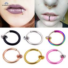 Starbeauty 2 pcs Hot Lip Piercing Fake Nose Ring Black Nose Rings Fake Piercing 10mm Labret Piercing Nose Clip Earrings Jewelry(China)