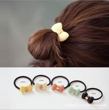 New  2016 Queer jewelry factory Petite Korea imported cute bunny bow hair ring hair rope hair accessories