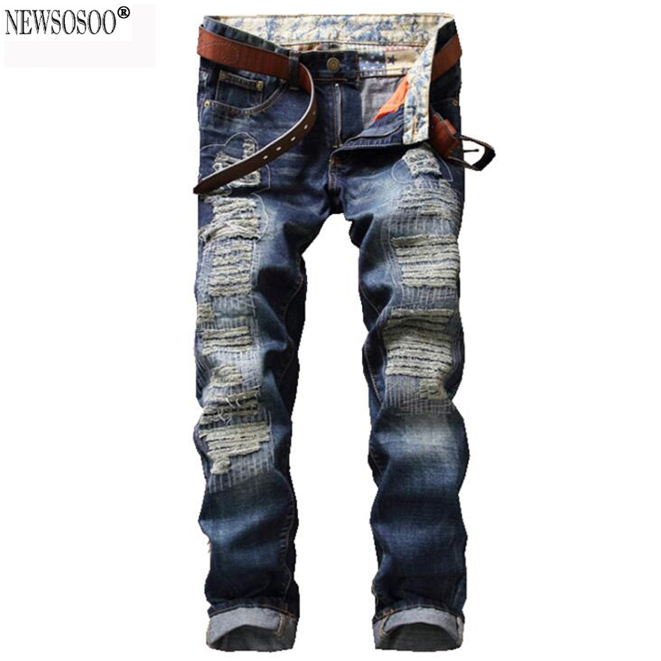 Newsosoo brand fashion patch holes ripper jeans for man Casual slim straight denim pants Mens jeans hommes MJ82Îäåæäà è àêñåññóàðû<br><br>