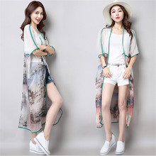 Fast delivery of 2017 new summer  large code long dresses printed beach sunscreen jacket silk shawl cardigan coat