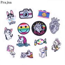 Prajna Cheap Embroidered Patches Fashion Unicorn Cat Camera Patch Iron On Kids Cute Cartoon Patches For Clothes DIY Appliques(China)