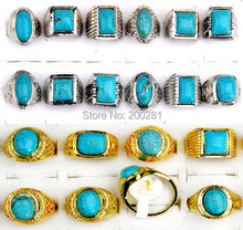 Wholesale 10Pcs/lot Vintage Retro Tibet Gold Silver P Rings For Men Women Big Wedding Rings Party Jewelry
