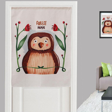New Linen Door Valance Thick Cartoon Animal Owl Floral Pattern 85x120cm Home Short Curtains for Bedroom Cafe Office