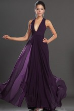 2016 sexy deep v-neck catch above the fold long chiffon backless dress chiffon dress purple evening dress UY89 custom legal indu