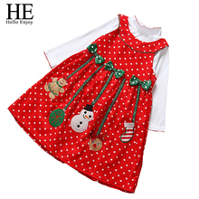 HE Hello Enjoy christmas girl dress autumn dress red santa dress 2pcs kids clothes sets girls dot princess girls clothes 2016(China)