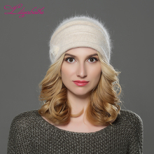 LILIYABAIHE NEW Style Women winter Beanies hat knitted wool angora hats Mink balls and pearl decoration cap Double warm hat(China)