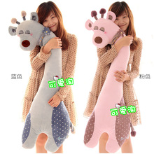 large 110cm cartoon sleeping giraffe plush toy soft throw pillow , Valentine's Day, birthday gift w5454(China)