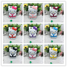 3D Cute Cartoon Hello kitty Glasses Silicone Soft Back Cover Phone Cases For Apple For ipod touch 5 6 5g 6g T5 T6(China)