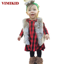 VIMIKID Cute Toddler Kids Girls Dress 2017 Spring Long Sleeve Red Plaid Children Dresses for Baby Girls Casual Cotton Dress 1-6Y(China)