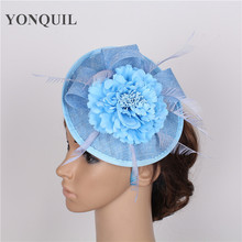 High Sale 15 colors light blue fascinator with silk flower imitation sinamay fascinators hats bridal hair accessories event hats