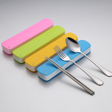 travel cutlery reused fork & spoon & chopsticks lunch box Companion tableware tableware kids chopstick gifts stick cooking tools