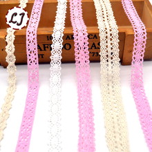 Hot new arrived 5yd/lot pink beige white lace fabric ribbon cotton lace trim sewing material for home garment accessories DIY