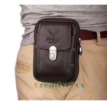 2017 New Men Genuine Leather Vintage Travel Cell/Mobile Phone Cover Case Hip Belt Bum Pouch Purse Fanny Pack Waist Bag