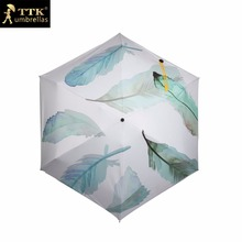 women's Mini umbrella folding super light pocket feather TTK black coat sun Chinese umbrellas small Parasol women children