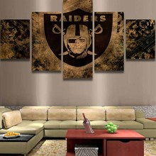 5 Pieces Raiders Sports Team Logo Modern Home Wall Decor Painting Canvas Art Hd Print Painting Canvas Wall Picture For Home Deco
