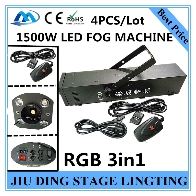 4 pcs / full colour LED 1500W smoke machine RGB 3in1 1500W fog machine / Gas column machine of professional DJ equipment<br><br>Aliexpress