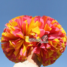 "10pcs Cheerleading pom Plastic Pink and yellow Color mixing 1,000*3/4"" wide streamers handle(China)"