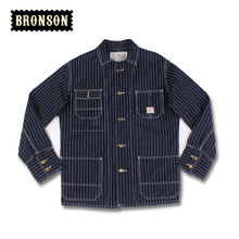 BRONSON new arrival jacket men's Indigo railway denim jacket stripe workwear rail road jackets coat