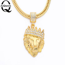 New Color Gold Color Alloy Men Lion Head Pendant Inlay Rhinestone Necklace HipHop Lion King Crown Franco Chain(China)