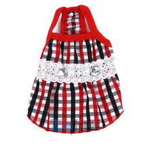 Hot Sales Trendy Dog Pet Lace Diamond Plaid Skirts Dress Puppy Summer Shirt Clothes LM76