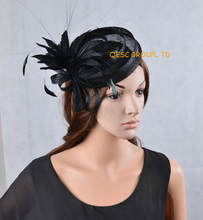 NEW Black sinamay mini hat feather fascinator Derby hat with feathers for formal occasion. FREE SHIPPING