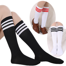 2015 New Fashion Women Cotton Over Knee High Socks 3 line Striped Casual Cosplay Sock 8 Color(China)