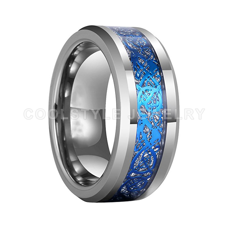 8MM Mens Wedding Band Womens Tungsten Carbide Engagement Ring With Blue Dragon And Imitated Meteorite Inlay