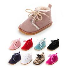 New Suede Leather with Fur solid Newborn Baby Girl boy First Walkers shoes hard sole lace-up Non-slip super warm boots