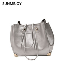 SUNMEJOY Women Synthetic PU Leather Handbag Metal Color Shoulder Tote Bag Golden Silver Composite Litchi pattern Bags for Ladies(China)