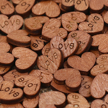 100Pcs Wooden Love Heart Button Wedding Table Scatter Confetti Decoration Crafts