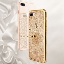Luxury Gold Glitter Case iPhone 6 Case 3D Flower Diamond Cover iPhone 7 6s X 8 Plus Crystal Silicone Bling Ring Cover