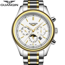relogio masculino Original Brand Watch Men GUANQIN Business Mens Fashion Gold Stainless Steel Quartz Watch Waterproof Wristwatch