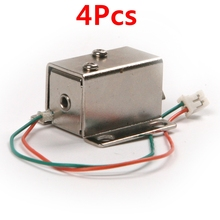4Pcs Universal DC 12V mini Electromagnetic Lock with 2 Wires Cabinet Drawer Express Locks Solenoid Electronic Lock Door Lock(China)