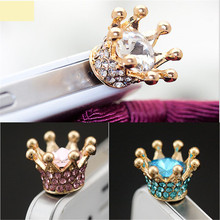 SiM 3.5mm Earphone Jack Dust Plug Rhinestones Crown Anti-dust Plug for Most Mobile Phone