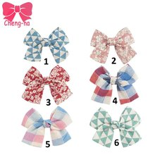 "6pcs 4.5""DIY Boutique Handmade Fabric Hair Bow Without Clip Cute Plaid Flower Printed Hair Clip For Pretty Baby Children Girl"