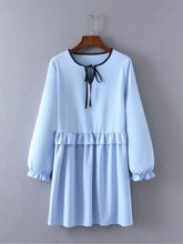 New Women Reclaimed Vintage Ruffle Hem Smock Dress 751