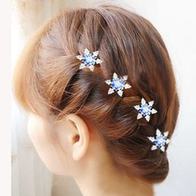 3pcs Hot Female Lady Girls Bride Princess Snowflake Ceystal Rhinestone Hair Clips Hairgrips Accessories For Woman(China)