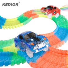 Car Hot Wheels Railway Electronics Lightning Assembly DIY Glow in the Dark Race Track Kids Toys for Boys Gifts(China)