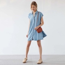 EBAY Foreign Trade Spring And Autumn New Pattern Lapel Single Row Silver Buckle A Word Bandage Easy Cowboy Dress 1292