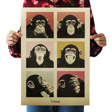 1pcs Cartoon Retro Kraft Paper Paintings Poster Gorilla Wall Pictures Interior Bar Cafe Decorative Painting 36*51.5cm(China)