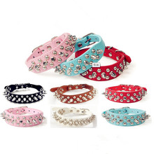 Punk Style Spiked Pet Dog Collar Round Bullet Nail Rivet Studded Collar Neck Strap small dog Collar PU Leather Pet roducts