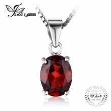 JewelryPalace 925 Sterling Silver Garnet Pendant Necklace fit Chain Necklace 16  Inch or 18 Inch 925 Silver Pendant For Women