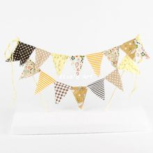 Brown Yellow Birthday Party cake Decorating Personalized Cotton fabric Cake Topper Wedding Party Favor Decor