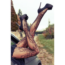 Buy Women Sexy Charming Floral Pattern Fishnet Pantyhose Black Color Sexy Female Stockings Pantyhose Trouser Party Tights Girls