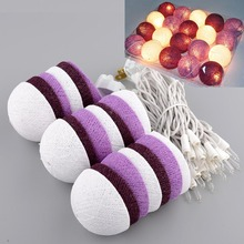 Aladin Romantic 3M 20 Purple Creative Handmade Cotton Ball String Light For Xmas Feast Banquet Decoration Ornament