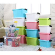 1PC 7 Colors 7L small thick plastic box containing food storage box cosmetic box with handle J0783(China)