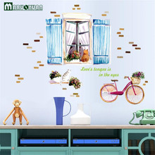 Maruoxuan New Cartoon Windows Bicycle Stickers Sofa Bedroom Entrance Bedside Tv Wall Background Decorative Wall Stickers(China)
